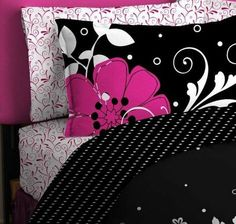 Pink & Black Teen Girls Queen Comforter & Sheet Set (7 Piece Bed In A Bag)