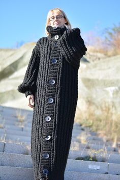 Dukyana Hand Knitted Wool No Mohair Sweater Coat New Thick One Size Cardigan | eBay