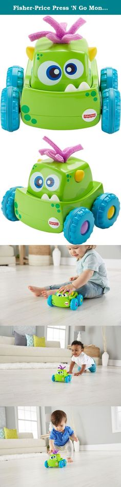 Fisher-Price Press 'N Go Monster Truck. Ready set go! put play time into OVERDRIVE with the press 'N go monster truck. Babies will delight in pressing down on the monster's head to send him zooming forward, encouraging them to crawl after their new friend. Your little one can boost gross motor skills while discovering cause and effect with a silly, colorful monster friend. Where development comes into play gross motor: babies can boost gross motor skills as they crawl or walk after the...