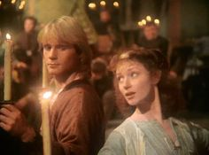 """Jason Connery as Robert of Huntingdon and Judi Trott as Lady Marion in Robin of Sherwood (TV Series, UK, 1984-1986, Series 3, Episode 01 """"Herne's Son: Part 1"""")"""