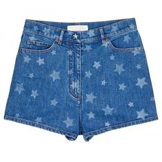 Valentino Star print denim shorts found on Polyvore featuring shorts, bottoms, pants, short, valentino, blue, patterned shorts, blue jean short shorts, star denim shorts and blue jean shorts