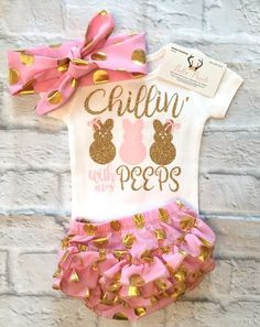 Baby Girl Clothes,Chillin' With My Peeps Bodysuit, Easter Bodysuits, Baby Girl Easter Shirts, Chillin' With My Peeps Shirts, Girls Easter Shirts - BellaPiccoli