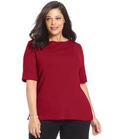 Karen Scott Plus Size Elbow-Sleeve Boat-Neck Top