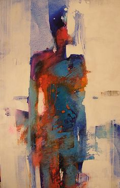 Artist: Tecio Rowska {contemporary figurative #expressionist abstract female standing woman smudged texture painting}