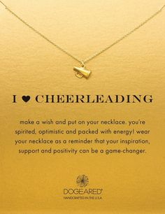 I Heart Cheerleading Necklace. Cheer with the megaphone! Cheerleading girlfriends gonna love. Gifts for cheerleaders. Necklace with message.