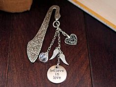 Believe in Love Ornate Silver Finish Bookmark with Tibetan