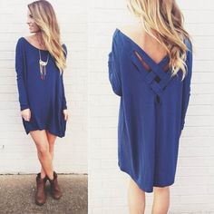 Blue Plain Cross Back Long Sleeve Loose Cotton T-Shirt