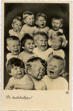 Vintage BW photo-postcard with crying babies / kids - 'The pessimists' - 1944 Funny Vintage Photos, Vintage Humor, Vintage Images, Retro Kids, Old Postcards, Photo Postcards, Old Pictures, Old Photos, Funny Pictures