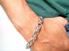 925 sterling silver bangle cuff solid bracelet chain link cuban men heavy men  #symbolina #Chain