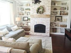 Built-ins, shiplap, whitewash brick fireplace, bookshelf styling, rustic mantle