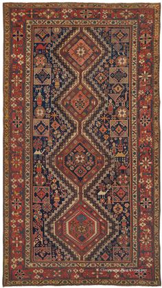 SHIRVAN, Southeast Caucasian (SOLD), 6ft 4in x 11ft 3in, Circa 1825. This nearly two centuries old Caucasian Shirvan long rug possesses a profoundly artistic spirit and level of tribal innovation that is passionately sought after and virtually never found. Its level of creativity and the consummate balance of its motifs are expressions of Caucasian tribal rug weaving at its highest, revealing the hand of a master rug weaver exploring her art.