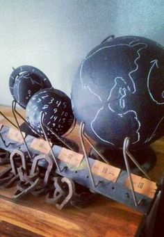 @ megan null - check these out! Antique/Vintage Chalkboard World Globes