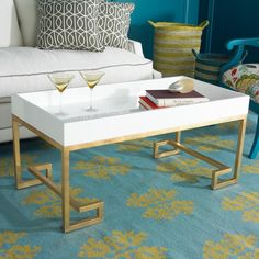 Lacquered Tray Greek Key Coffee Table with a deep rim lacquered tray top and gold leaf or silver leaf iron frame. Tray available in glossy lacquer colors: White, Navy or Emerald Green