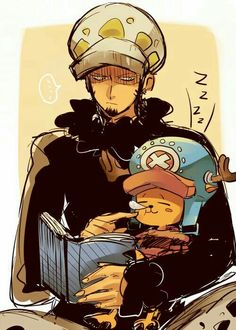 Chopper, Law, funny, cute, text, sleeping, snot bubble, book, reading; One Piece