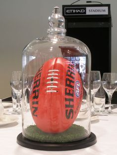 only do we design for weddings, but we can create innovative centrepieces for any type of event, including football-themed corporate functions Football Banquet, Football Themes, Sports Centerpieces, Rugby, Theme Sport, Sports Awards, Sports Party, Smosh, Fundraisers