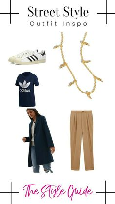 Simple Street Style, Navy Coat, Adidas Superstar, Style Guides, Fashion Outfits, Tees, How To Wear, Pants, Shopping