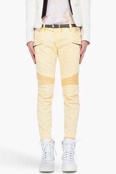 Slim Yellow Biker Jeans. Balmain.
