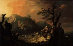 The Bard, by Thomas Jones (1742 – 1803) showing a Welsh Druid in a rugged landscape containing a monument strikingly similar to Stonehenge