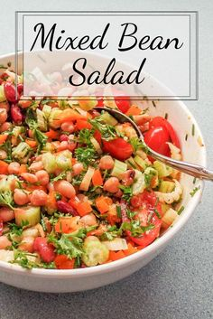 Colorful, Tasty and Healthy Mixed Bean Salad | This mixed bean salad looks pretty, tastes great and can be made ahead of time...the perfect option to take to a picnic or potluck...or for a meal at home.