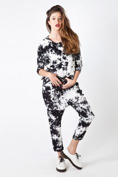 TIE DYE Baggy Pant in Black & White French Toast, Tie Dye, Jumpsuit, Black And White, Pants, Dresses, Fashion, Overalls, Trouser Pants