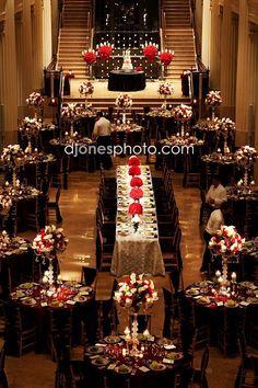 Romantic red floral wedding reception centerpiece; Featured Photographer: D. Jones Photography