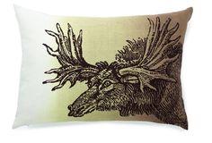 Moose 14x20 Linen Pillow, Twilight