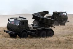 Russian Grad artillery systems during Central Military District drills at the Ashuluk range, Astrakhan region, on September 15, 2015