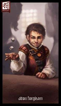 Halfling tossing dice, short brown hair, roguish smile, red vest and white sleeved shirt.