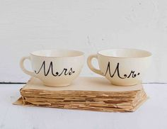 Mr. & Mrs. Hand Painted Vintage TEACUPS Wedding Bride Groom Farm House Wheat Orange Gold