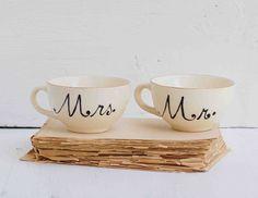 Mr. & Mrs. Hand Painted Vintage TEACUPS Wedding Bride Groom Farm House Wheat Orange Gold