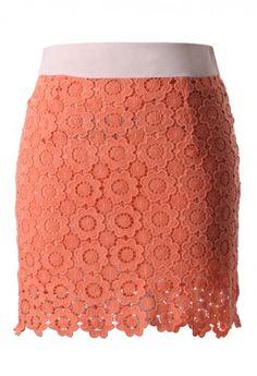 Coral Sunflower Crochet Bud Skirt
