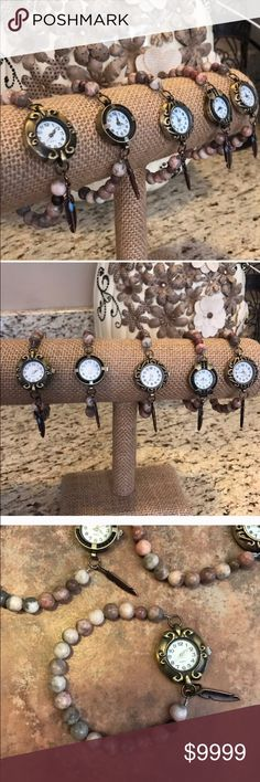**In stock** Boho Agate Vintage-Style Watch These are absolutely stunning watches and would make a fantastic gift! They feature a stretchy bracelet made with agate beads, a feather charm and beautiful working watch ♥️ The 5 in the picture are available if you would like to pick your design, bundle and save or make a (reasonable) offer  Boho Gypsy Sisters Accessories Watches