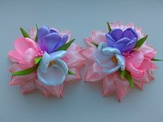 Flower Kanzashi Master Class hand made DIY, Канзаши МК, Зефирка - YouTube