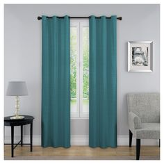 """Nikki Thermaback Blackout Curtain Panel Teal (Blue) (40""""x84"""") - Eclipse"""