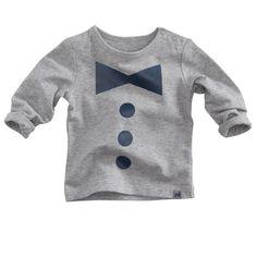 Grijsmelee shirtje van Z8 (model Gnu) met lange mouwen en een donkerblauwe opdruk.