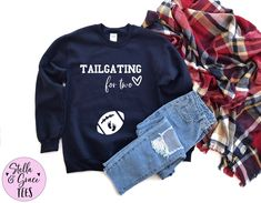 Tailgating for Two Sweatshirt, Football Coach Gift, Football Pregnancy Announcement Shirt, Baby Announcement Shirt, Funny Baby Reveal Shirt Football Pregnancy Announcement, Football Coach Gifts, Brunch Shirts, Aunt Shirts, Drinking Shirts, Pregnancy Shirts, Tailgating, Family Shirts, Funny Babies