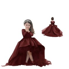 """PrettyBridal Burgundy Flower Girl Dress Long Sleeve Princess Pageant Prom Gown. ✮ HIGH QUALITY MATERIAL ✮ - Made of tulle and satin,. ✮ NEW & FASHIONABLE STYLE ✮ - Hi-lo skirt with sweep train make the dress more generous, and see-through top & long sleeves can meet someone's requirement, but don't let the dress look heavy. ✮ 8 DIFFERENT COLORS ✮ - We have 8 colors on sale, and the royal blue, red, burgundy, black dresses are hot selling. ✮ SIZE CHART ✮ - Please refer to """"PrettyBridal…"""