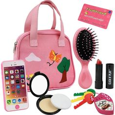 Click N' Play 8 Piece Girl's Pretend Play Purse. Includes: Smartphone, car keys, credit card, lipstick, etc. Little Girl Toys, Baby Girl Toys, Baby Dolls, Cool Toys For Girls, Kids Girls, Disney Princess Toys, Zapf Creation, Smartphone, Car Keys