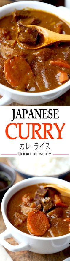 Curry Japanese Curry Recipe カレ-ライス - mild and a little sweet, this is a delicious kid-friendly beef stew!Japanese Curry Recipe カレ-ライス - mild and a little sweet, this is a delicious kid-friendly beef stew! Curry Recipes, Asian Recipes, Beef Recipes, Cooking Recipes, Sirloin Recipes, Beef Sirloin, Beef Meals, Beef Welington, Fondue Recipes