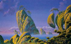 Roger Dean (born Roger Dean is a British artist best known for creating album artwork for popular progressive bands, such as Yes and Asia. His artwork includes colorful, organic science fantasy. Fantasy Kunst, Fantasy Art, Illustrations, Illustration Art, Sci Fi Kunst, Roger Dean, Bilal, Cartoon Wallpaper Hd, 70s Sci Fi Art