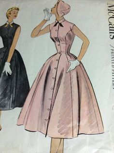 VTG McCalls DRESS Size 16 Sewing Pattern #9704 1954 Madmen Full Skirt #McCall
