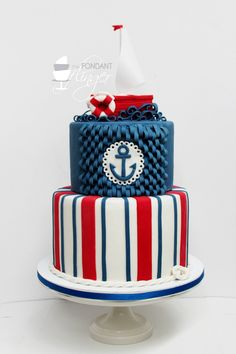Fondant Flinger Nautical Birthday Cake with fondant quilling Nautical Birthday Cakes, Nautical Cake, Baby Birthday Cakes, Nautical Party, Cake Baby, Birthday Ideas, Pretty Cakes, Cute Cakes, Fondant Cakes