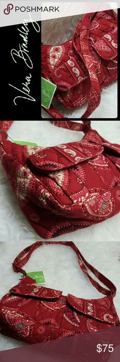 Vera Bradley Quilted Shoulder Crossbody Bag NEW Vera Bradley Signature Brand in Lovely Paisley Red Purse! Adjustable Strap can be used as Crossbody or Adjust as Shoulder Bag! Two Front Pockets with Flap Snap Button Closure, Back Exterior Zipper Pocket!  Top Zipper Closure Opens to Fully Lined Interior with Slip Pockets! New With Tag! Vera Bradley Bags