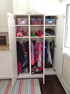 Ikea cabinets..... Locker style for kids stuff