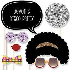 The perfect photo booth begins with fabulous photo booth props. Our printed and cut kit will help you easily create fun party photos at your next party. This Disco party photo booth props kit come with 20 pieces, one of which is personalized, and Disco Theme Parties, Disco Party Decorations, Disco Birthday Party, Party Themes, Party Ideas, Decor Photobooth, Motown Party, Decade Party, Big Dot Of Happiness