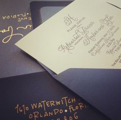 Beautiful navy & gold wedding invitations by Chelsea of Simpliche.