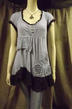 Lagenlook Upcycled Tunic Ruffled Rosettes Boho Knit Cotton Grays and Brown Size S-M