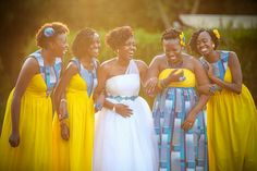 The perfect African Traditional Wedding dress nailed by these bridesmaids. African traditional bridesmaids dresses for those planning a cultural wedding. African Bridesmaid Dresses, African Print Dresses, African Fashion Dresses, African Dress, African Outfits, African Wedding Theme, African Wedding Dress, Wedding Attire, Wedding Gowns