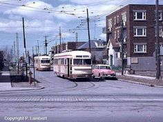 PCC STREETCAR RUNNING IN MONTREAL CANADA .