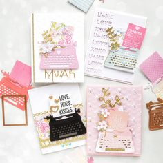 card typewriter, typing, machine, You're My Type - Spellbinders January 2019 Card Kit of the Month Typewriter Die Cards. Gold Glitter Paper, Card Making Tutorials, Making Cards, Spellbinders Cards, Valentine Day Cards, Valentines, Card Kit, Journal Cards, Pattern Paper